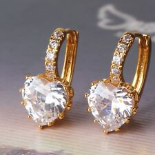 Flamboyant white sapphire prevalent leverback 18k gold filled hot earring