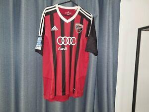 FC INGOLSTADT 04 Football Shirt Men's Red Black Soccer Jersey Adidas Top Medium