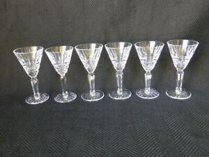 Six Vintage Waterford Crystal Maeve Pattern Cordial Glasses