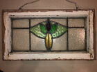 ANTIQUE STAINED GLASS WINDOW  23x14