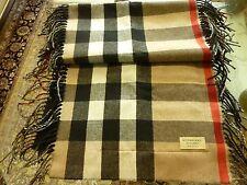 """$895 BURBERRY Ladies """"Helene"""" Black/Check Iconic Fringe Stole Wool/Cashmere NWT"""