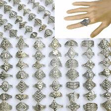 Wholesale Jewelry Lots 30pcs Mixed Silver Tone Rings Vintaged Jewelry Unisex