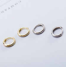 Plain Sterling Silver Huggie Hoop Earrings Children Girls Size 10mm Unisex A33