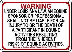 LOUISIANA Equine Sign activity liability warning statute horse farm barn stable