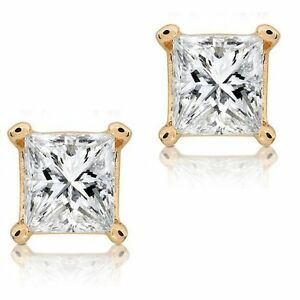 Square Clear CZ Princess Cut 14k Yellow Gold Basket Set Screw Back Stud Earrings