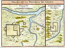 """1748 Genuine Antique Map """"Villes de la Province de Chensi"""". by J.N. Bellin"""