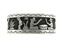 Navajo Sterling Silver Stamp and Overlay Fire, Drum, Mesa Design Bracelet Cuff