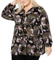 Style & Co. Women's Blouse Black Size 1X Plus Petal Floral Button Up $56 #201
