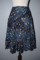 Navy Blue Batik Sequin A-line Peasant Skirt SPEECHLESS Swing Boho Gypsy 11 India