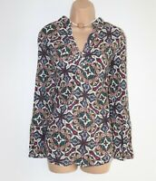 Women's Vintage JAKE'S Long Sleeve Multicoloured Cotton Blouse Tunic Shirt GB14