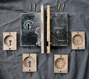 Antique Vintage Old Eastlake Bronze Pocket Door Lock Lockset Plate Pull Hardware
