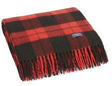 Faribault Woolen Mill Co. Bison Check Wool Throw - Red / Black