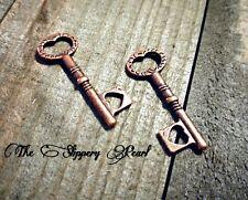 Heart Key Charms Antiqued Copper Keys Copper Skeleton Keys Steampunk Key Pendant