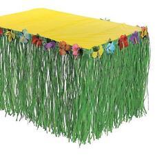 Green Grass Hibiscus Flower Table Skirt  Wedding Hawaiian Beach Holiday Party