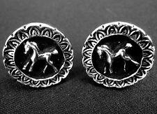 CuffLinks Equestrian Cuff Links Pony Horse Raised SilverTone on Black Enamel Vtg