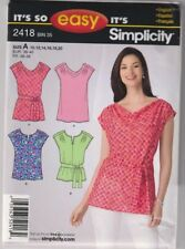 2418 SIMPLICITY Easy - TOP w Drape Neck & Variation - Sz 10-20 B 32.5-42""