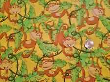 Rare TIMELESS TREASURES monkey fabric 1 yd Bart-C 7294 yellow jungle vine cotton