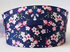 1m X 22mm Grosgrain Ribbon Craft DIY Cake Decoration Hair Bows - Navy Flower