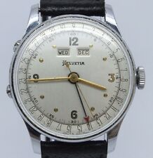 VINTAGE 1940's Helvetia Triple Date 35mm Mens Watch Original Dial Valjoux 90