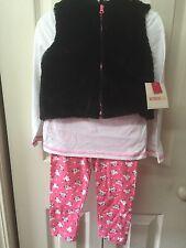 Girls 3 Piece Outfit Size 12 Months Cat Design Black Faux Fur Vest Pink White