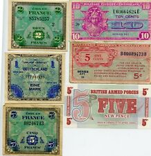 6 PC. US & ALLIED MILITARY PAYMENT CERTIFICATE NOTES!!..STARTS@ 2.99