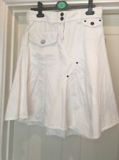 Morgan Toi Blanco 100% Algodón De Inteligente Falda Talla T38 Size UK 10 (12 usada una vez)