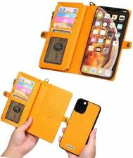 iPhone 11 Pro Wallet Case Magnetic Detachable Cover Leather Zipper Pocket Yellow