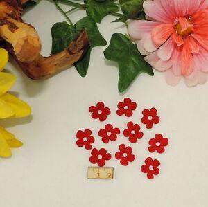10 rote Mini Blüten Filz 2cm Frühling Basteln Karten Deko Tischdeko Restposten