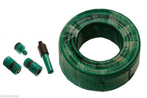 NEW GARDEN HOSE PIPE COMPLETE WITH FITTINGS UK MADE CHOOSE 15 METRE UP TO 100 ME
