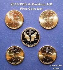 2016 Five Coin Sacagawea Native American PDS Pos A&B Set (Mint Rolls/Proof Sets)