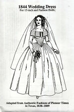 "1844 Wedding Dress Pattern for 15"" Fashion Doll Gene Alex other same size dolls"
