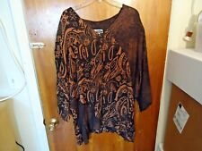 Womens C.M.Shapes Size 3X Multi Color Geometric 1/2 to 3/4 Sleeve Button Top