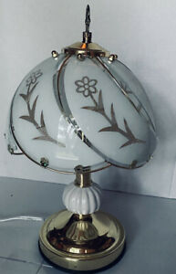 """White Flower Touch Control Table Lamp Stand Night Light  14"""" Beautiful Gold Tone"""