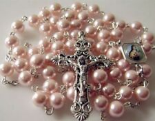*8MM PINK MOTHER-OF-PEARL BEADS ROSARY GIFT NICE ITALY CROSS crucifix CATHOLIC