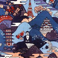 Japanese Buddha fabric, blue oriental asian print cotton, Tokyo, for furnishings