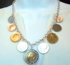 """925 Sterling Silver Italian """"Lire"""" Coin Charm Necklace 9 Coins Authenic Unworn"""