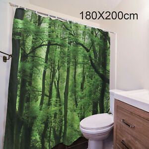 Fabric Shower Curtain Extra Wide Extra Long Standard With Hooks Ring 180X200Cm