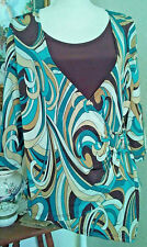 DressBarn Womens Large Top Brown Beige Turquoise Aqua Glitter 3/4 Sleeves Wrap