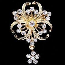 Large Flower Bridal Brooch Rhinestone Crystal Diamante Wedding Gold Broach Pin
