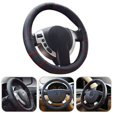 AU Stock 15''/38cm Car Steering Wheel Cover Black Genuine Leather Universal M
