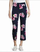 IMNYC New sz 6 Navy Blue Pink Women's Floral  Cropped Capri Summer Pants $81 NWT
