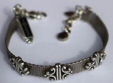 Vintage BRIGHTON Swirls Mesh Dangle Cross Charm Bracelet Self Love Respect