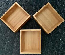 Soho Bamboo Makeup Kitchen Cosmetic Organizer Bathroom Square Boxes tray Stroage