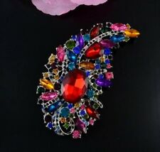 """4.2"""" Extra Large Silver Tone Multi-Colour Red Crystal Tear Drop Brooch Pin"""