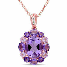 Haylee Jewels Amethyst Rose de France & White Topaz Halo Necklace in Rose Silver