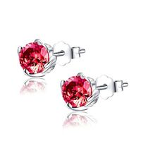 1.0 Cttw Round Created Ruby Sterling Silver Stud Earrings Gifts for Girl