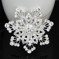 Silver Plated Clear Rhinestone Snowflake Women Wedding Party Accessories Brooch