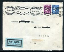 Finlande - Enveloppe de Helsinki par avion pour la France en 1936