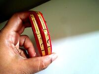 Indian Jewelry Bengal Red Pola Bracelet Gold Plated Bridal kada Bangles 2.6 Sz