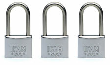 3 pcs.IFAM 50mm KEYED ALIKE LONG SHACKLE MARINE PADLOCKS. SALT SPRAY TESTED.